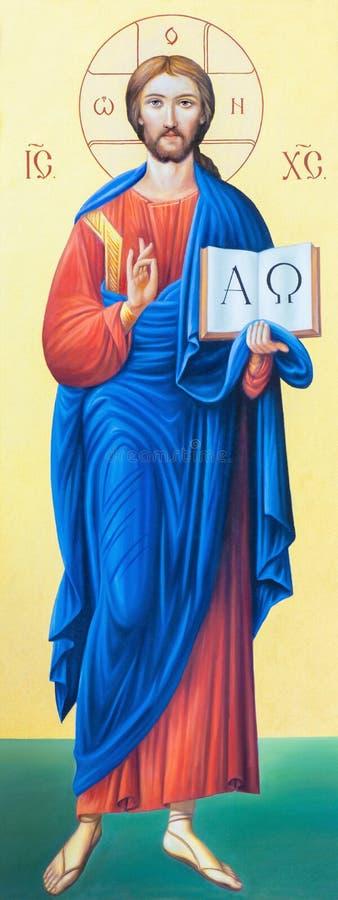 BRESCIA ITALIEN, 2016: Symbolen av Jesus Christ Pantokratoren i presbyteriet av kyrkliga Chiesa di Angela Merici royaltyfria bilder