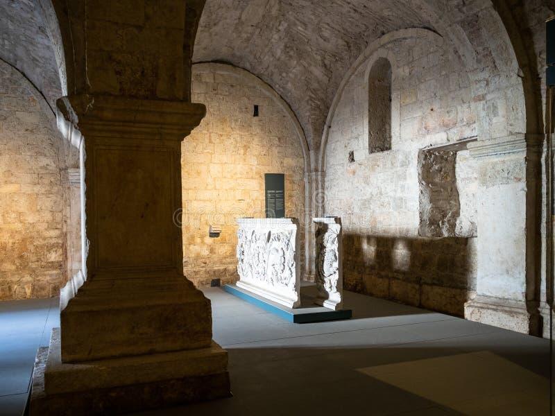 Lower hall of Church Santa Maria in Solario stock photo
