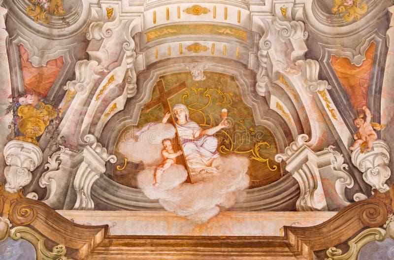 BRESCIA, ITALY, 2016: The fresco of cardinal virtue of Faith in Chiesa di Santa Maria della Carita. BRESCIA, ITALY - MAY 21, 2016: The fresco of cardinal virtue stock images