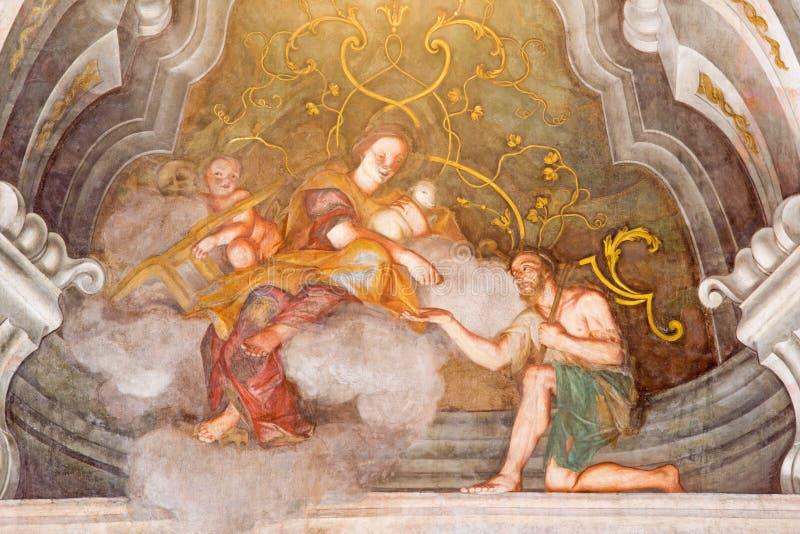 BRESCIA, ITALY, 2016: The fresco of cardinal virtue of Love in Chiesa di Santa Maria della Carita. BRESCIA, ITALY - MAY 21, 2016: The fresco of cardinal virtue stock images