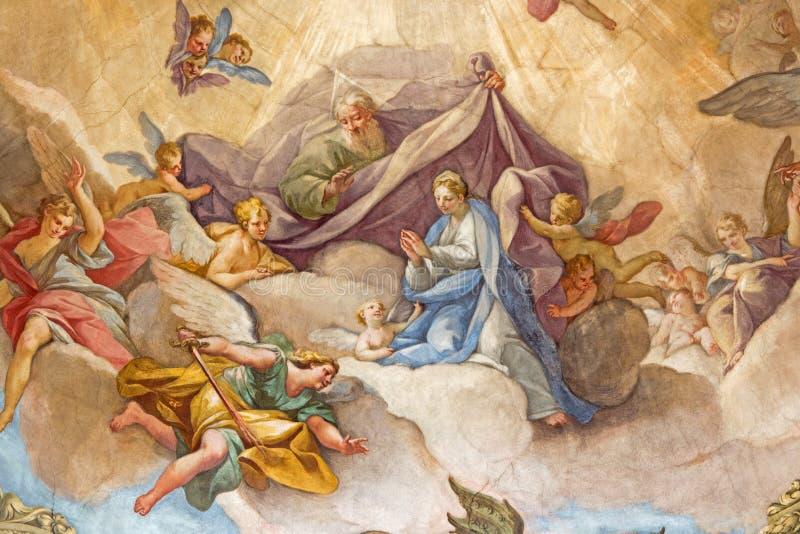 BRESCIA, ITALY, 2016: The fresco Glory of Virgin on cupola of church Chiesa di San Francesco d'Assisi by Giovanni Battista. BRESCIA, ITALY - MAY 22, 2016: The royalty free illustration