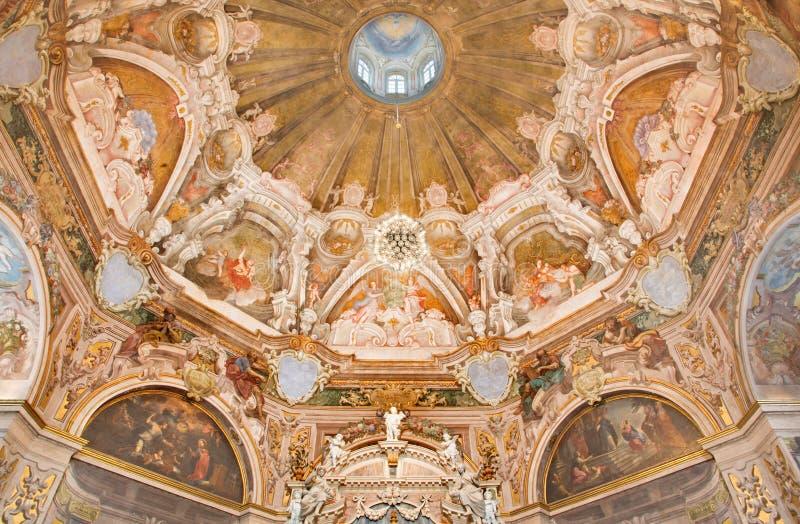 BRESCIA, ITALY, 2016: The fresco of main apse with the symbols of cardinal virtues in Chiesa di Santa Maria della Carita. BRESCIA, ITALY - MAY 21, 2016: The stock photo