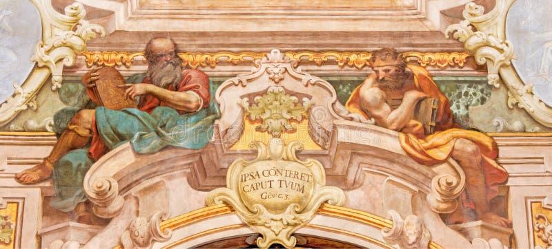 BRESCIA, ITALY, 2016: The fresco of Moses and king Salomon in Chiesa di Santa Maria della Carita. BRESCIA, ITALY - MAY 21, 2016: The fresco of Moses and king stock photo