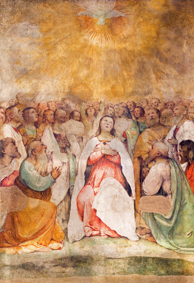 BRESCIA, ITALY, 2016: The fresco of Pentecost in church Chiesa di San Francesco d'Assisi by Girolamo Romani - Romanino royalty free illustration