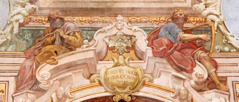BRESCIA, ITALY, 2016: The fresco of prophet and king David in Chiesa di Santa Maria della Carita. BRESCIA, ITALY - MAY 21, 2016: The fresco of prophet and king stock image