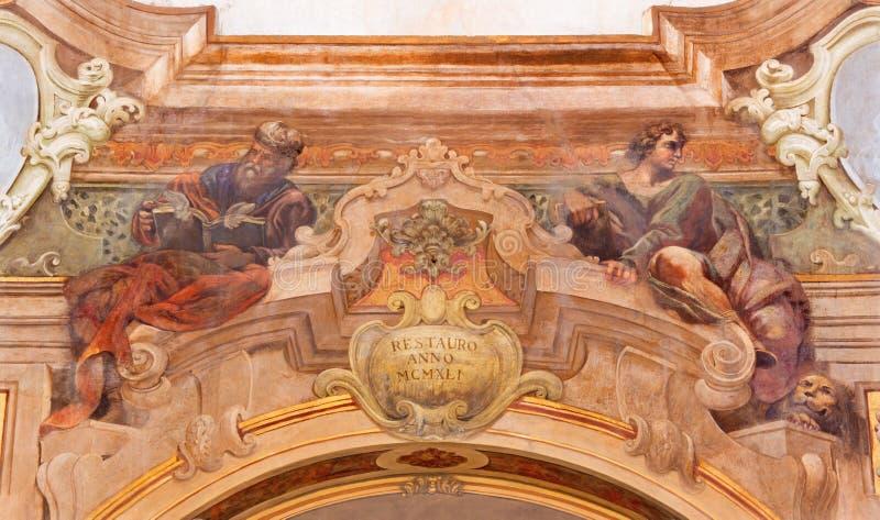 BRESCIA, ITALY, 2016: The fresco of prophets Ezekiel and Daniel in Chiesa di Santa Maria della Carita. BRESCIA, ITALY - MAY 21, 2016: The fresco of prophets royalty free stock photography