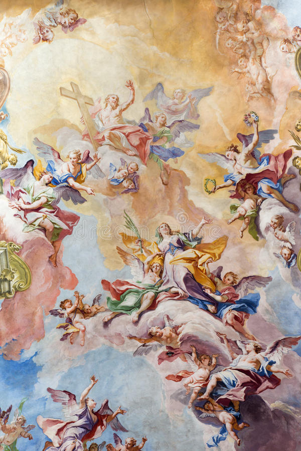 BRESCIA, ITALY, 2016: The Glory of Santa Eufemia fresco on the wault of presbytery of Sant'Afra church by Antonio Mazza. BRESCIA, ITALY - MAY 23, 2016: The Glory stock images
