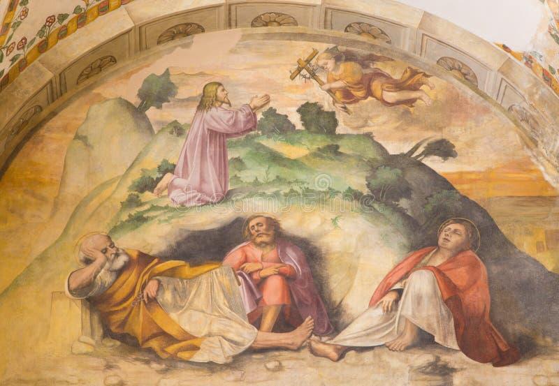BRESCIA, ITALY, 2016: The Jesus prayer in Gethsemane garden fresco in of church Chiesa di San Giuseppe by Romanino school. BRESCIA, ITALY - MAY 21, 2016: The stock image