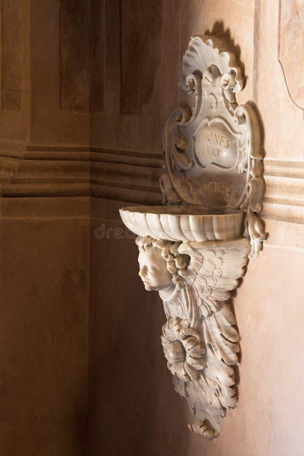 BRESCIA, ITALY - MAY 21, 2016: The baroque stoup in Chiesa di Santa Maria della Carita. stock image