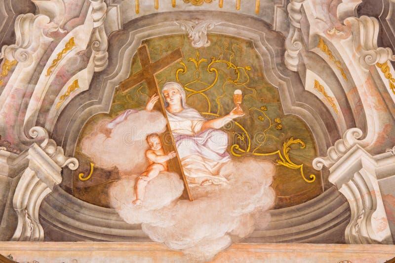 BRESCIA, ITALY - MAY 21, 2016: The fresco of cardinal virtue of Faith in Chiesa di Santa Maria della Carita. By Ferdinando Cairo and Luigi Vernazal from 18 royalty free stock photos