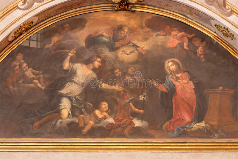 BRESCIA, ITALY - MAY 21, 2016: The painting of Annunciation in church Chiesa di Santa Maria della Carita by unknown artist. Of 17. cent royalty free stock photo