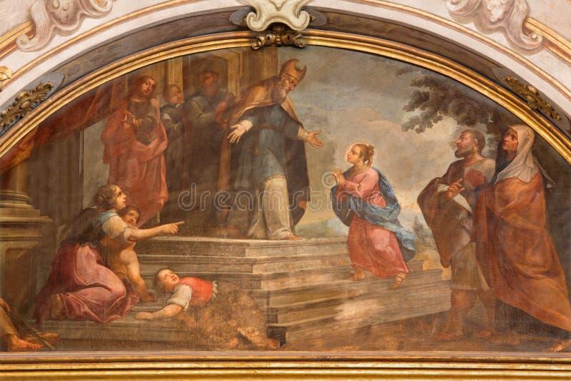 BRESCIA, ITALY - MAY 21, 2016: The painting of Presentation of Virgin Mary in church Chiesa di Santa Maria della Carita. By unknown artist of 17. cent stock photo