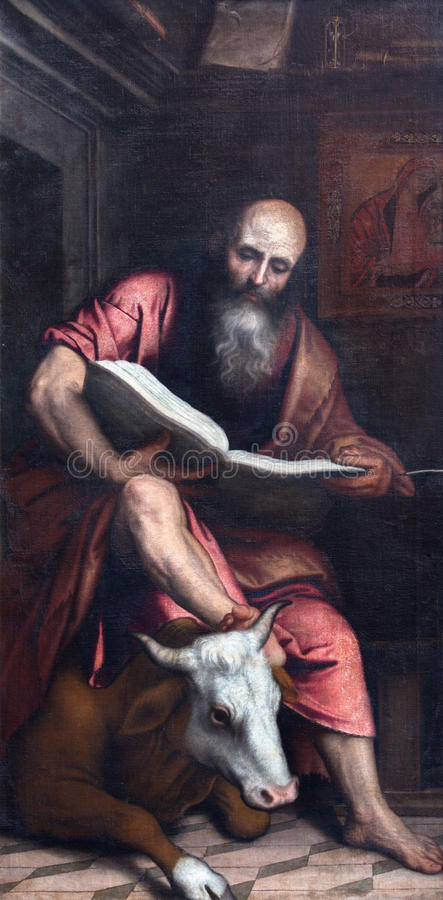 BRESCIA, ITALY - MAY 23, 2016: The painting of St. Matthew the Evangelist in church Chiesa di San Giovanni Evangelista. By Alessandro Bonvicino - Moretto (1498 royalty free stock photos