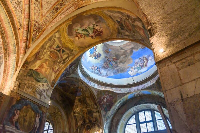 Interior of Duomo Vecchio or Old Cathedral, Concattedrale invernale di Santa Maria Assunta in Brescia. Italy. Brescia, Italy - October 21, 2018: Interior of stock image