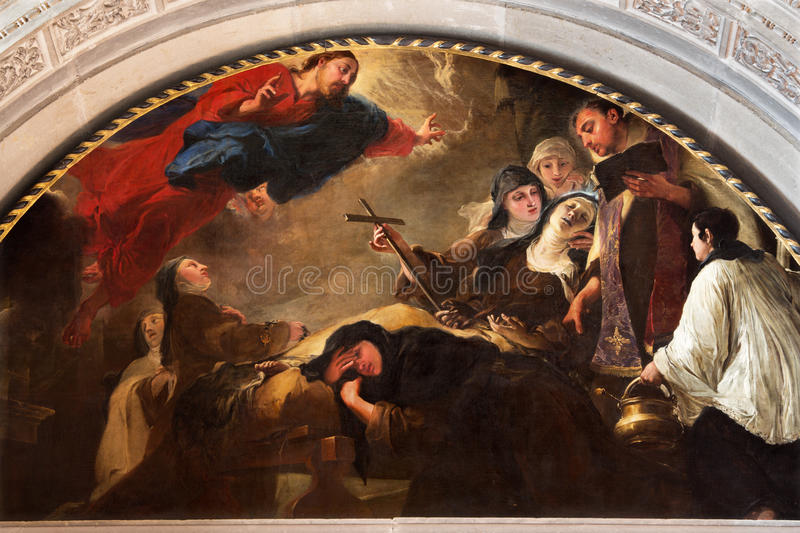 BRESCIA, ITALY, 2016: The painting The death of St. Theresa of Avila in Chiesa di San Pietro in Olvieto by Giovanni Segala. BRESCIA, ITALY - MAY 22, 2016: The royalty free stock images