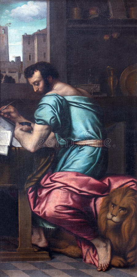 BRESCIA, ITALY, 2016: The painting of St. Mark the Evangelist in church Chiesa di San Giovanni Evangelista. BRESCIA, ITALY - MAY 23, 2016: The painting of St stock photos