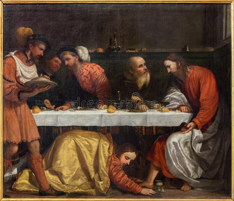 BRESCIA, ITALY, 2016: The painting of The Supper in the house of simon the pharisee. BRESCIA, ITALY - MAY 23, 2016: The painting of The Supper in the house of stock photo