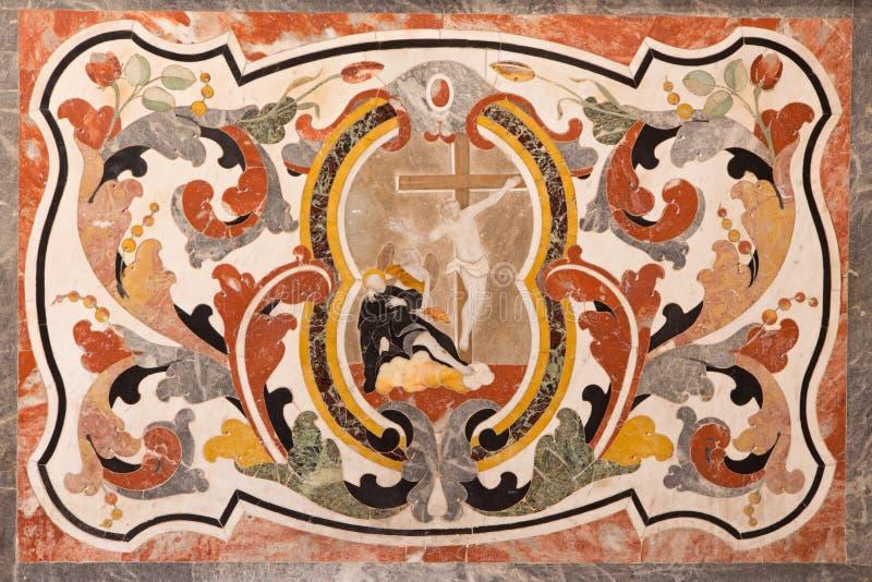 BRESCIA, ITALY, 2016: The stone mosaic on the side altar (Conversion of St. Ignace of Loyola). BRESCIA, ITALY - MAY 21, 2016: The stone mosaic on the side altar stock photo