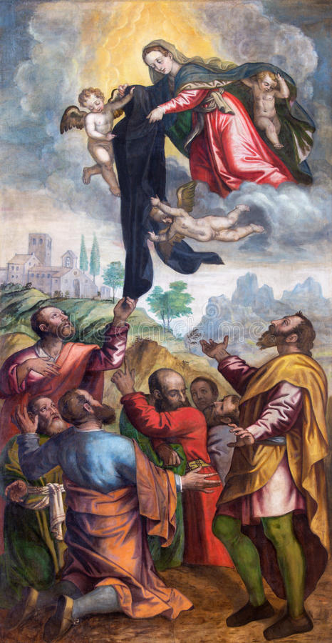 BRESCIA, ITALY, 2016: Virgin Mari give the black garment to Servants of Mary in church Chiesa di San Alessandro. BRESCIA, ITALY - MAY 23, 2016: Virgin Mari give royalty free stock images