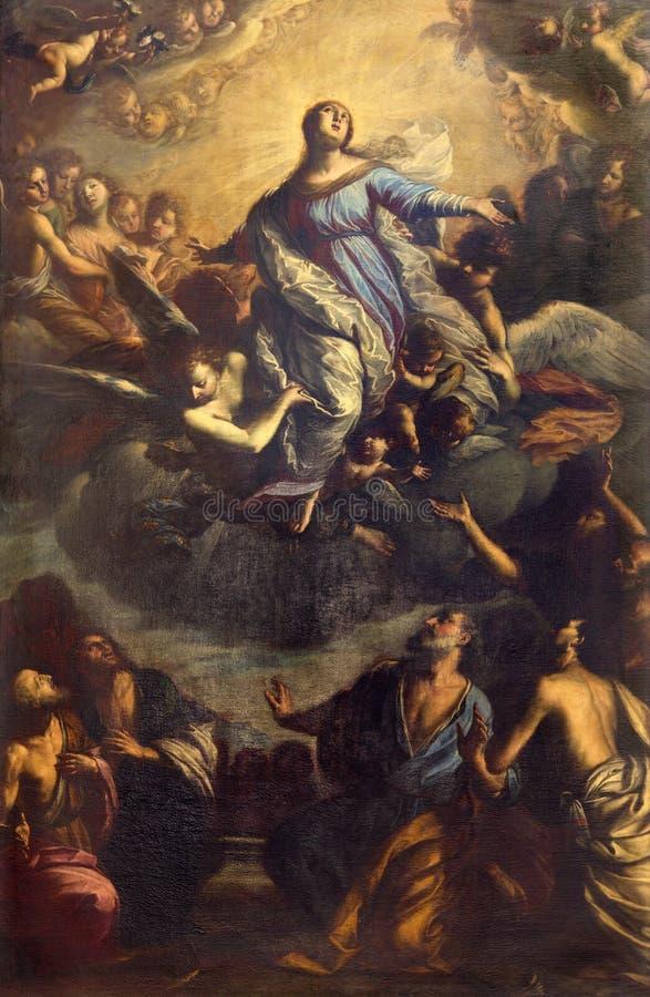 Brescia - obrazu wniebowzięcie Vigin Mary w kościelnym Chiesa Di San Giovanni Evangelista Francesco Paglia 1636, 1700 zdjęcie stock