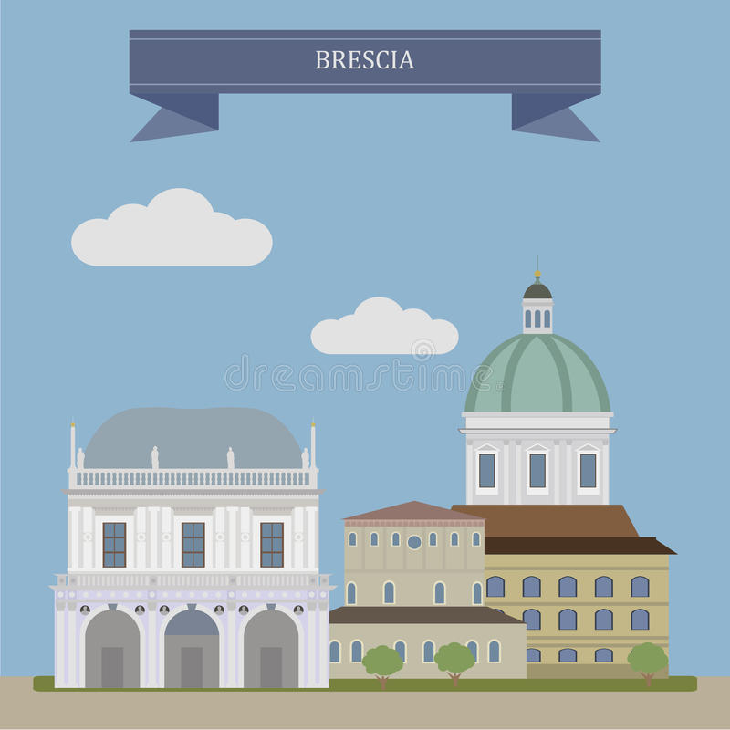 Brescia, stad in Italië royalty-vrije illustratie