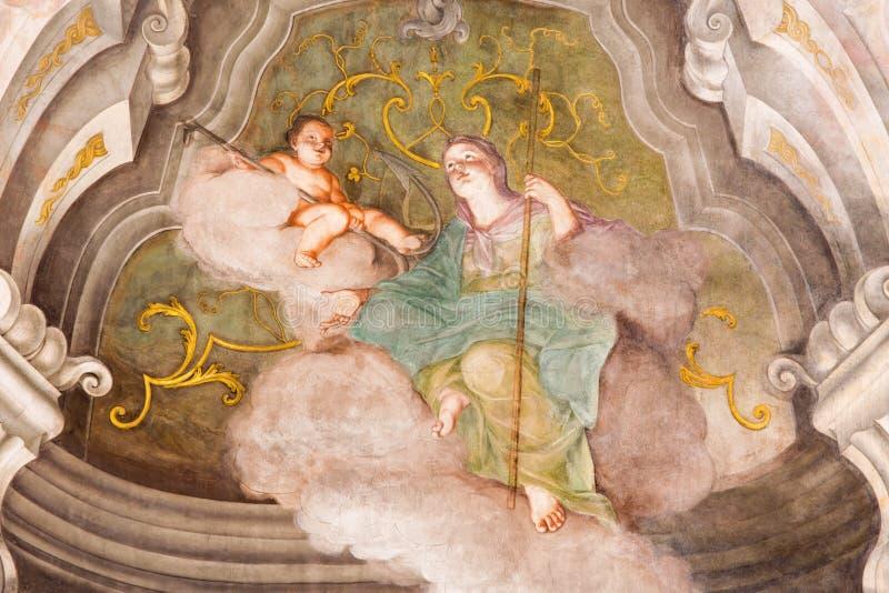 BRESCIA, WŁOCHY, 2016: Fresk główna cnota nadzieja w Chiesa Di Santa Maria della Carita fotografia stock