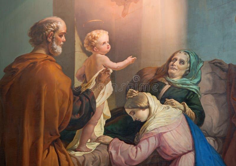 BRESCIA WŁOCHY, MAJ, - 21, 2016: Obraz śmierć st Ann w kościelnym Chiesa Di San Zeno al Foro Luigi Campini 1857 obraz royalty free