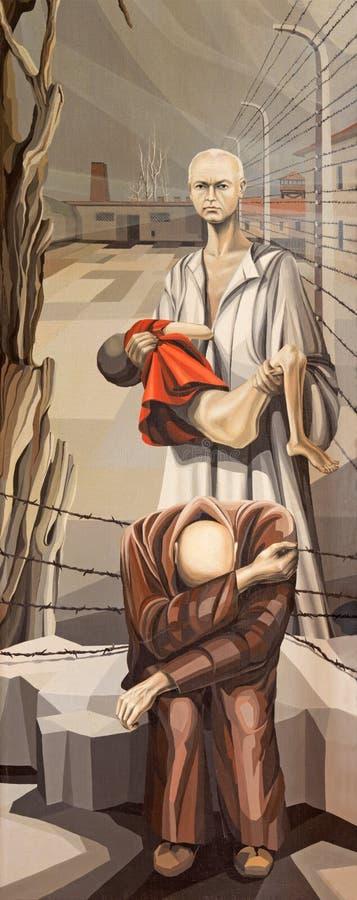 BRESCIA, WŁOCHY, 2016: Obraz święty męczennik Maximilian Kolbe w koncentracyjnym obozie Oswiecim ilustracji