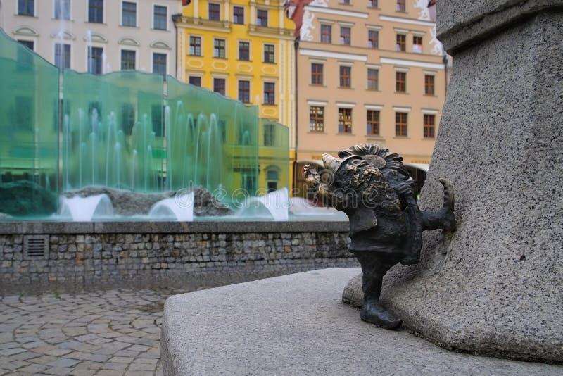 Breslau fontanna i karzeł zdjęcie stock