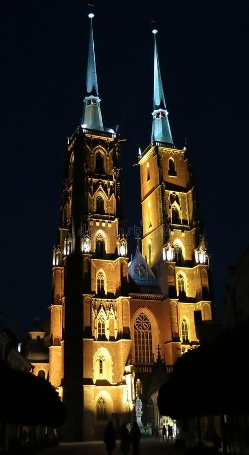 Breslau-Kathedralennacht lizenzfreie stockfotos