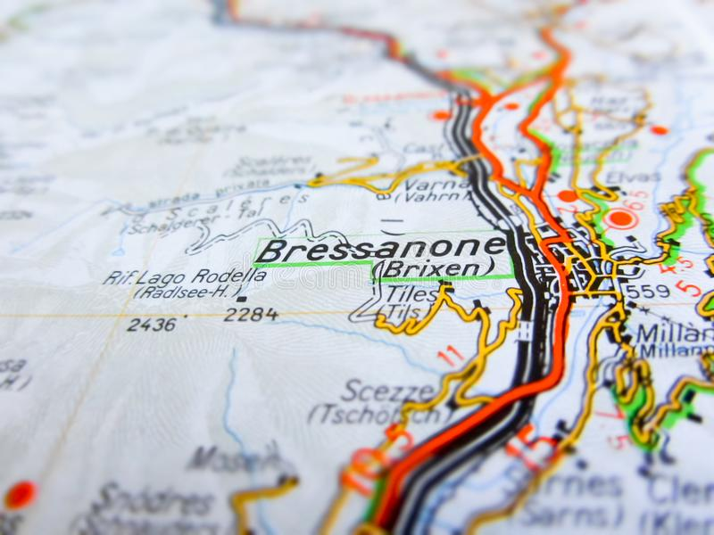 Bressanone city over a road map ITALY royalty free stock image