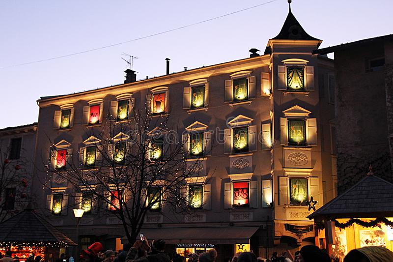 Bressanone del calendario del advenimiento fotos de archivo libres de regalías