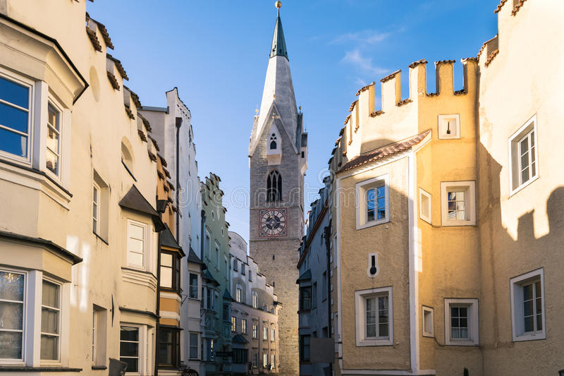 Download Bressanone Downtown With Buildings And White Tower. Editorial Stock Photo - Image: 83723913