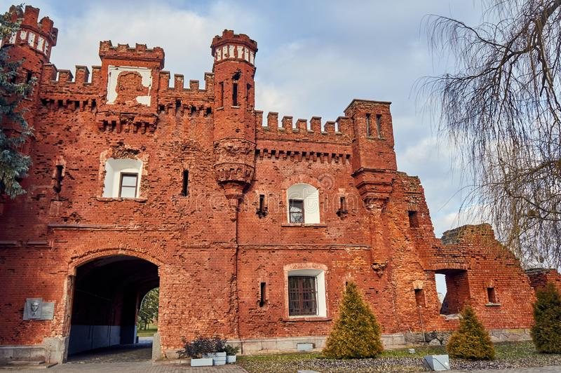 Brest, Belarus - December 28, 2016: The Kholm Gate in War Memorial Complex \'Brest Hero-Fortress. In the late 1960s, the construction of the war memorial complex royalty free stock photo