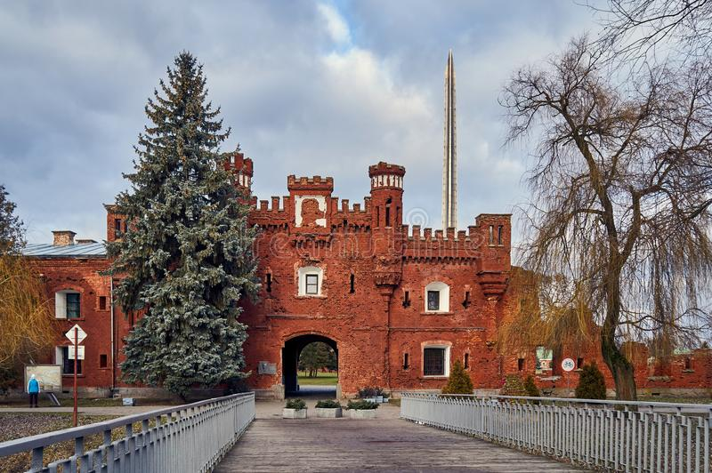 Brest, Belarus - December 28, 2016: The Kholm Gate in War Memorial Complex \'Brest Hero-Fortress. In the late 1960s, the construction of the war memorial complex royalty free stock image