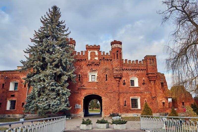 Brest, Belarus - December 28, 2016: The Kholm Gate in War Memorial Complex \'Brest Hero-Fortress. In the late 1960s, the construction of the war memorial complex stock image