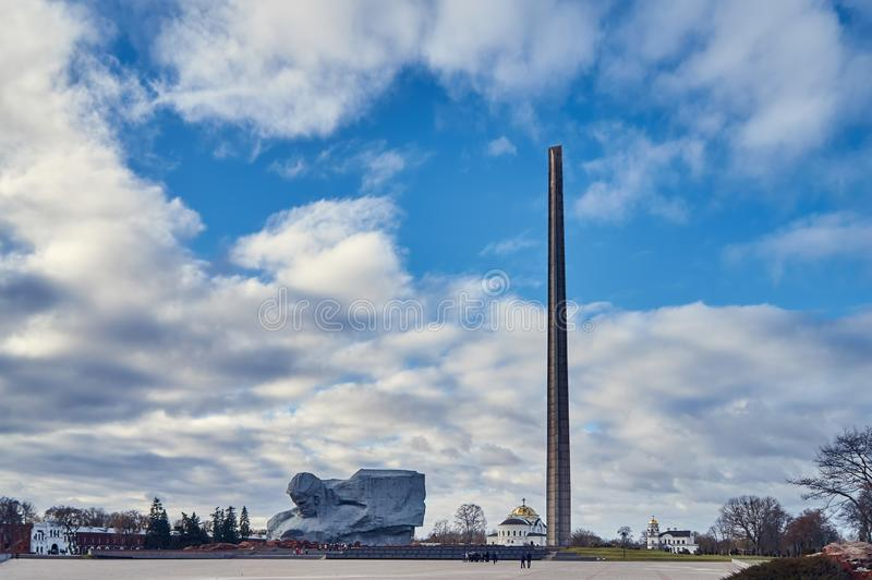Brest, Belarus - December 28, 2016: The Main Monument \'Bravery\' in War Memorial Complex \'Brest Hero-Fortress. In the late 1960s, the construction of the war royalty free stock photography
