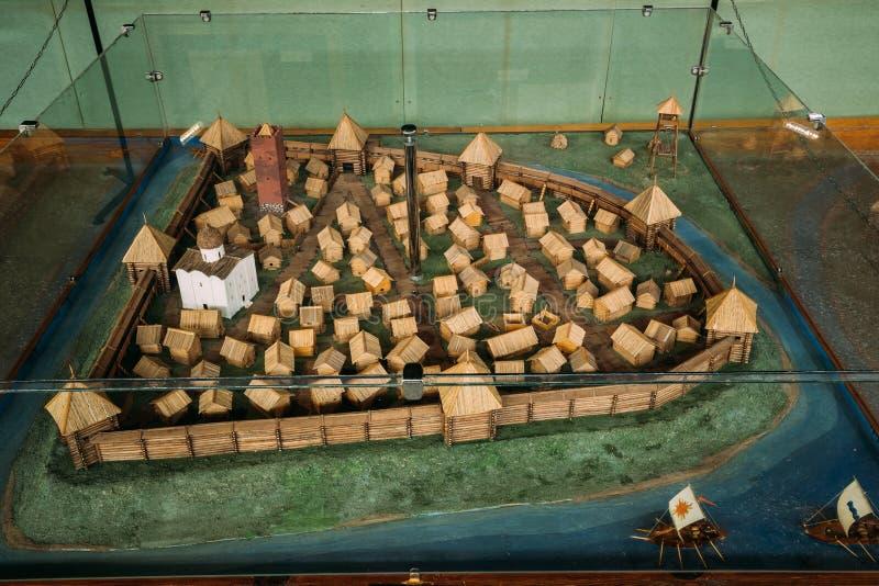 Brest, Belarus Exposition de ville en bois slave est de musée archéologique du 13ème siècle de Berestye photos libres de droits