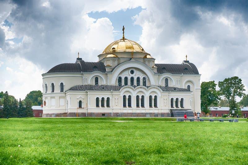 BREST, BELARUS - 28 JUILLET 2018 : Saint Nicholas Cathedral Svyato-Nikolaevskiy Sobor dans le mémorial de forteresse de Brest photos libres de droits