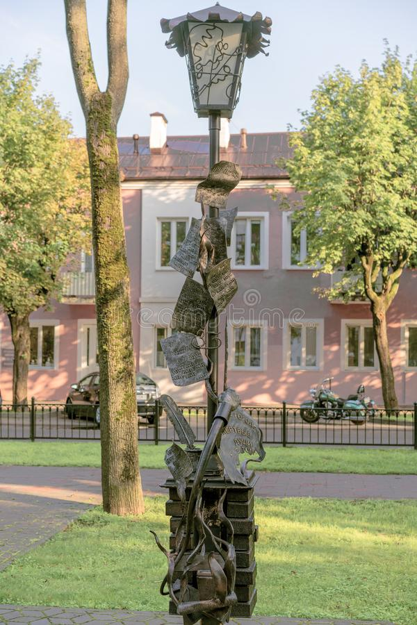 BREST, BELARUS - JULY 28, 2018: Street sculptures. Belarus. Brest.  stock photos