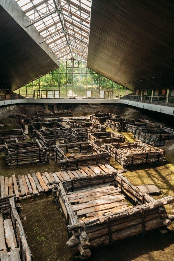 Brest, Belarus Monument archéologique de ville en bois slave est de musée archéologique du 13ème siècle de Berestye photographie stock libre de droits