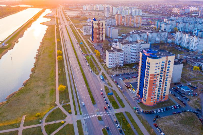 Brest city life on bright day aerial landscape. Urbanization in modern town. Brest, Belarus - April 17, 2019: Brest city life on bright day aerial landscape stock photography