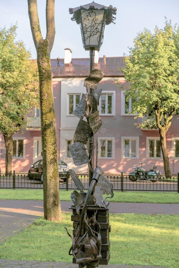 BREST, WIT-RUSLAND - JULI 28, 2018: Straatbeeldhouwwerken wit-rusland brest stock foto's