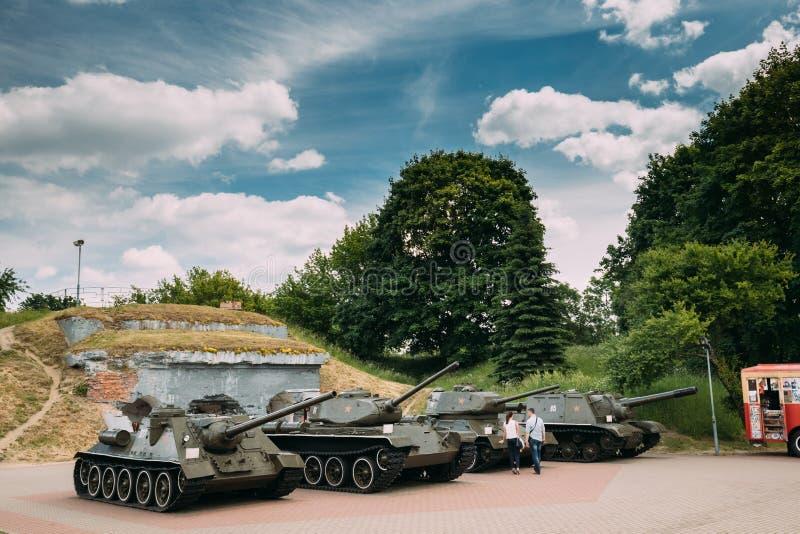 Brest, Wit-Rusland Oude Tanks in Herdenkings Complexe de Heldenvesting van Brest royalty-vrije stock afbeeldingen
