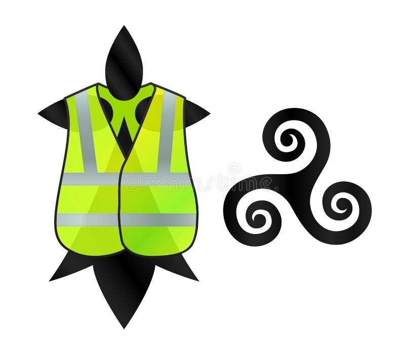 Bretonse symbolenhermine en triskel met geel vest op het, symbool van Franse manifestatie vector illustratie