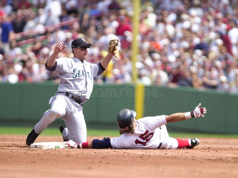 Brett Boone Tags Out Kevin Millar photos stock