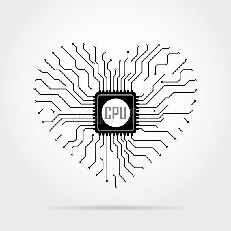 Brett der elektronischen Schaltung mit Chip in Form des Herzens Auch im corel abgehobenen Betrag vektor abbildung