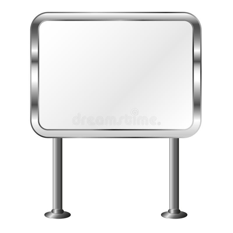 Brett in einem Metallrahmen Im Freienanschlagtafel Silbernes Schild Getrennte vektorabbildung stock abbildung