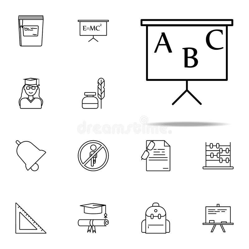 Brett mit Alphabetikone Bildungsikonen-Universalsatz für Netz und Mobile lizenzfreie abbildung
