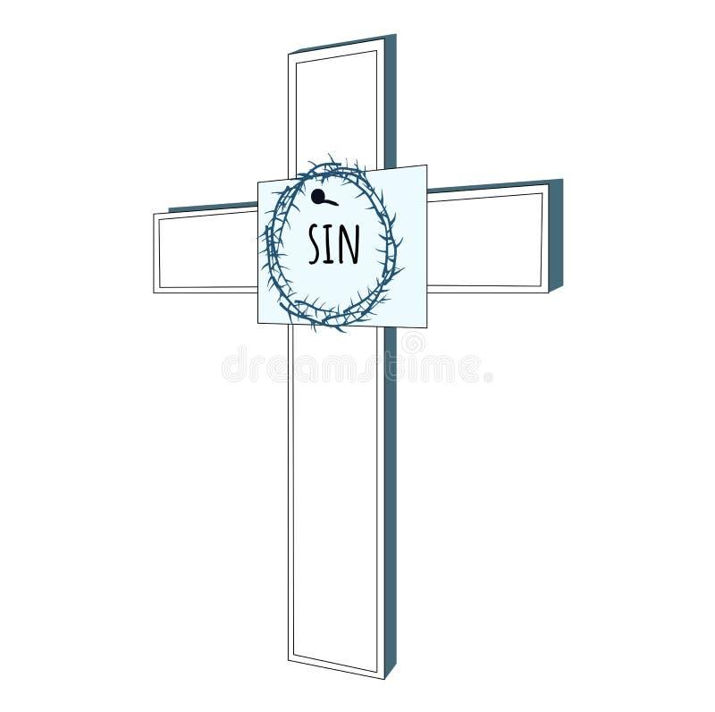 Brett mit dem Dorn und Wort Sünde auf Kreuz lizenzfreie abbildung